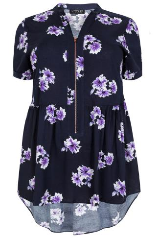 Navy & Purple Floral Print Longline Top With Ruched Waist & Zip Front