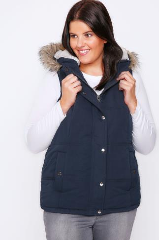 Navy Quilted Gilet With Faux Fur Hood