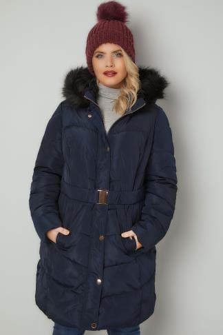 Puffer & Quilted Jackets Navy Quilted Puffer Coat With Black Faux Fur Trim & Elasticated Belt 120059