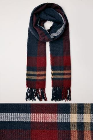 Scarves Navy & Red Check Oversized Blanket Scarf With Fringe Edge 152471