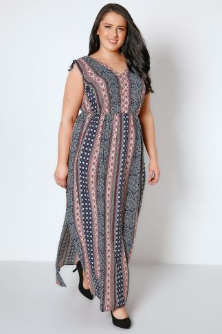 Maxi Dresses Navy & Red Mixed Print Maxi Dress With Side Splits 156057