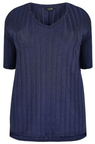 Navy Ribbed Slinky V-Neck Top With Drop Shoulder Sleeves & Side Splits