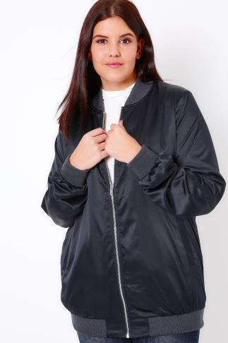Bombers Navy Satin Longline Bomber Jacket *New Longer Length* 102877