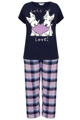 Navy Scottie Dog Print Pyjama Set