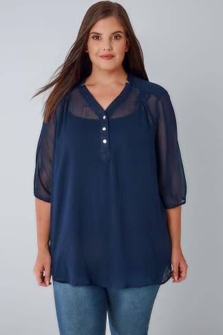 Blouses & Shirts Navy Sheer Chiffon Button-Up Blouse With 3/4 Length Sleeves 170305