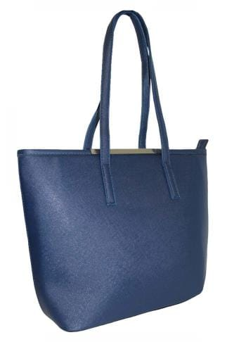Shopper & Tote Bags Navy Shopper Bag With Metal Bar Detail 152421