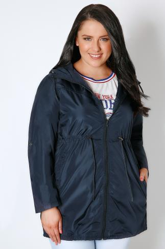 Parkas Navy Shower Resistant Pocket Parka Jacket With Hood 055049