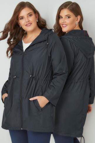 Parka Coats Navy Pocket Parka Jacket With Hood 055049