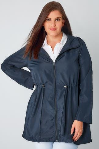 Waterproof & Shower Resistant Navy Shower Resistant Pocket Parka Jacket With Hood 120009