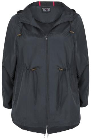 Navy Pocket Parka Jacket With Hood