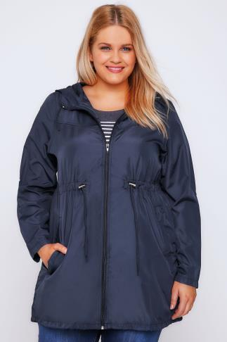 Navy Shower Resistant Pocket Parka Jacket With Hood