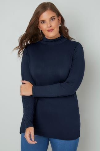 Jersey Tops Navy Soft Touch Turtle Neck Jersey Top With Long Sleeves 132326