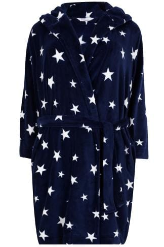 Navy Star Print Dressing Gown With Hood