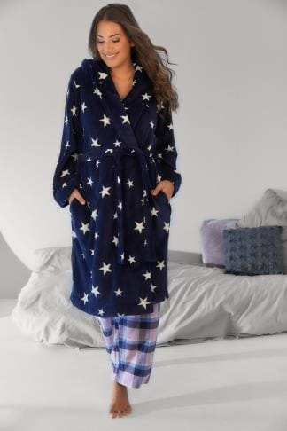 Dressing Gowns Navy Star Print Dressing Gown With Hood 148092