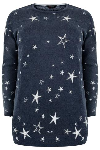 Navy Embellished Star Print Knit Jumper
