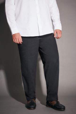 Chinos & Cords Navy Stretch Waist Chino Trousers With Pleats 090134