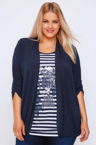 Navy Striped Floral Print Longline 2 in 1 Top With Roll-Up Sleeves