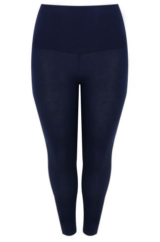 Navy TUMMY CONTROL Viscose Elastane Leggings