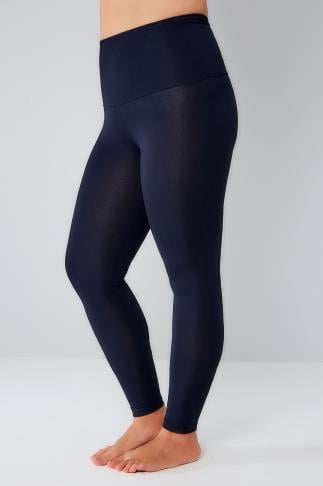 Navy TUMMY CONTROL Viscose Elastane Leggings 142044