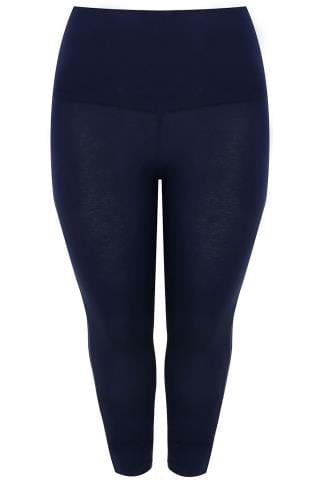 Navy TUMMY CONTROL Viscose Elastane Cropped Leggings 142049