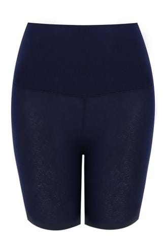 Navy TUMMY CONTROL Viscose Elastane Legging Shorts 142047