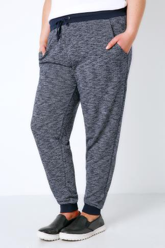 Joggers Navy Textured Joggers With Contrast Waistband & Cuffs 126022