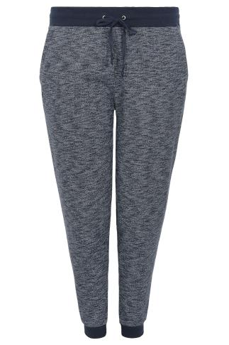 Navy Textured Joggers With Contrast Waistband & Cuffs