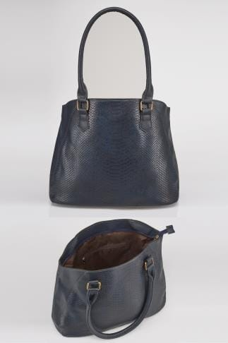 Navy Textured Shopper Bag