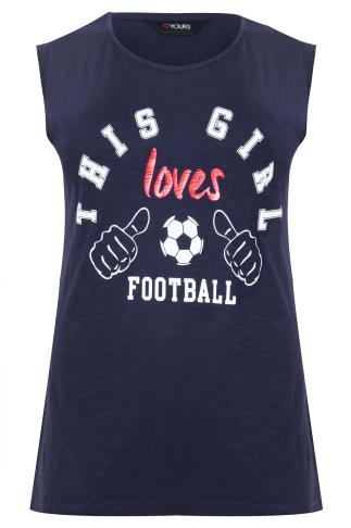 Navy 'This Girl Loves Football' Print T-Shirt