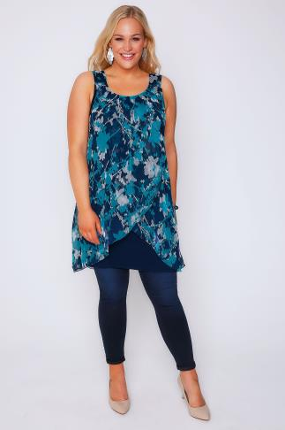 Navy, Turquoise & White Floral Print Chiffon Overlay Tunic Dress