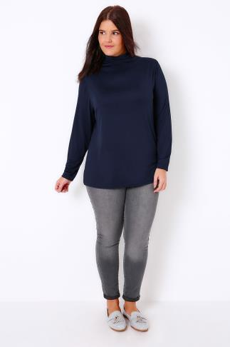 Jersey Tops Navy Turtle Neck Long Sleeved Soft Touch Jersey Top 102988