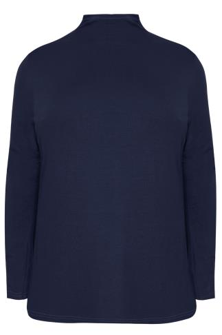 Navy Turtle Neck Long Sleeved Soft Touch Jersey Top