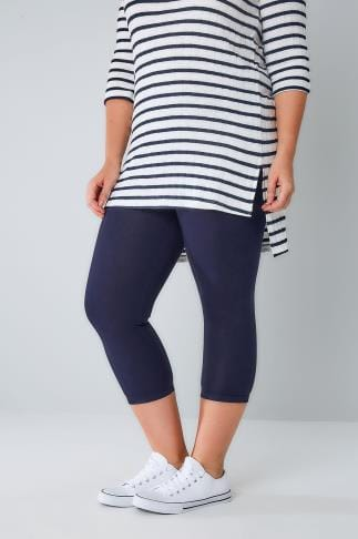 Cropped & Short Leggings Navy Viscose Elastane Cropped Legging 057441