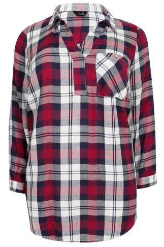 Navy, White & Berry Oversized Checked Shirt With V-Neck