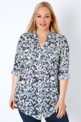 Navy & White Butterfly Pintuck Longline Blouse With Sequin Detail 130023