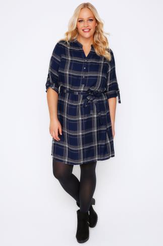 Tunic Dresses Navy & White Checked Tunic Shirt Dress 101998