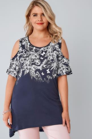 Bardot & Cold Shoulder Tops Navy & White Cold Shoulder Butterfly & Floral Printed Top 132182