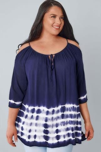 Bardot & Cold Shoulder Tops Navy & White Cold Shoulder Tie Dye Top 130067