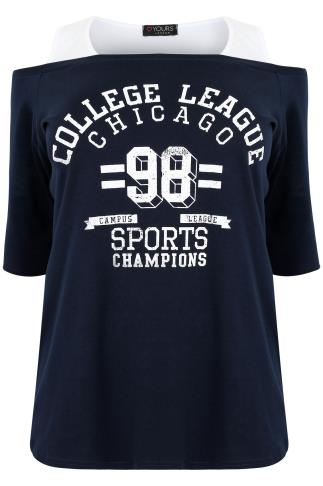 "Navy & White ""College League"" Printed 2 in 1 Bardot Top"