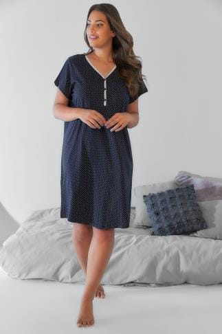 Nightdresses & Chemises Navy & White Dotty Nightdress With Lace Trim V-Neck 148088