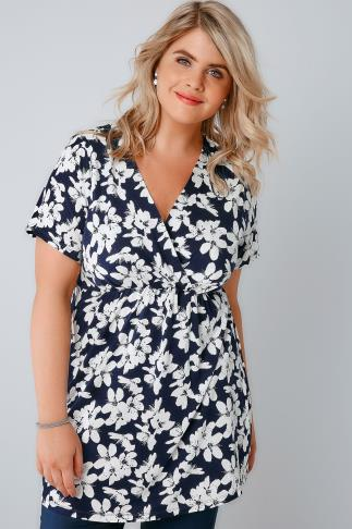 Navy & White Floral Print Top With Waist Tie 134053