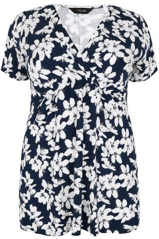 Navy & White Floral Print Top With Waist Tie