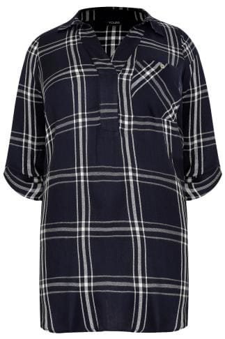 Navy & White Oversized Checked Shirt With V-Neck