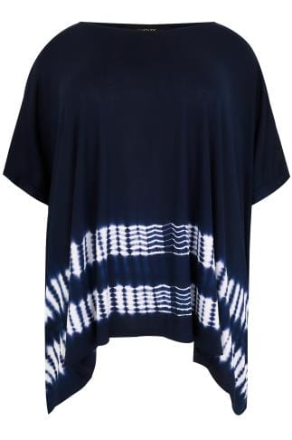 Navy & White Oversized Top With Tie Dye Print Hem