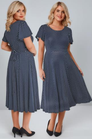 Sleeved Dresses Navy & White Polka Dot Fit & Flare Dress With Waist Tie 136055
