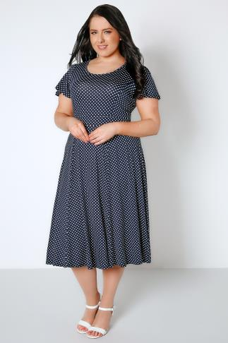 Navy & White Polka Dot Fit & Flare Dress With Waist Tie 136055