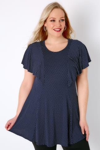 Navy & White Polka Dot Jersey Top With Frill Angel Sleeves