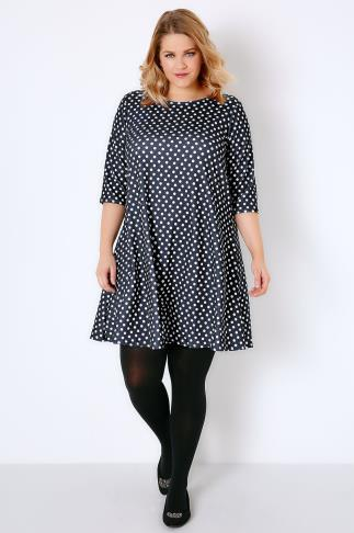 Navy & White Polka Dot Print Textured Swing Dress With Half Sleeves