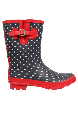Navy & White Polka Dot Wellington Boots With Red Trims In EEE Fit