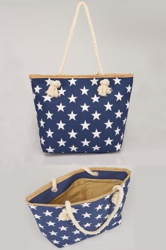 Plage Navy & White Star Print Beach Bag With Rope Handles 152243